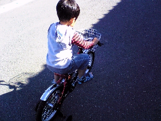 息子の自転車練習